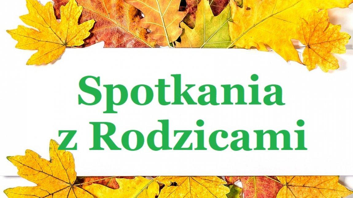 Grafika przedstawia napis spotkania indywidualne z jesiennymi liśćmi dookoła