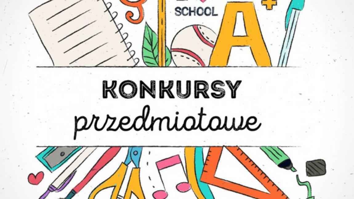Grafika zawiera napis konkursy przedmiotowe, a obok znajdują sie przybory szkolne: nożyczki, ekierka, gumka, ołówek itp.